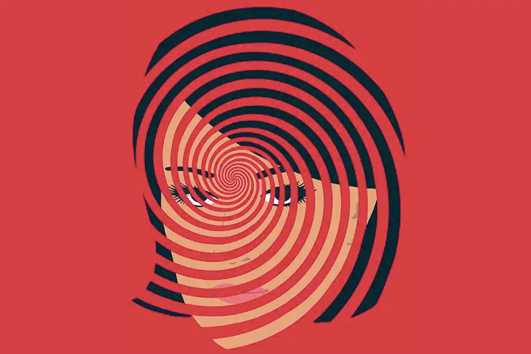 Woman behind a vortex of lines - illustrating hypnosis