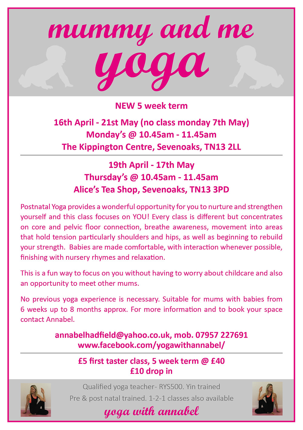 Mummy & Me yoga with Annabel Hadfield, Sevenoaks, Kent