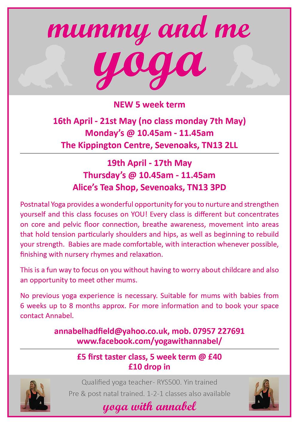 Mummy & Me yoga with Annabel Hadfield, Sevenoaks, Kent