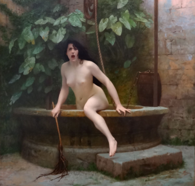 Truth, depicted as a naked woman, climbs out of her well. She is angry and confronting the viewer.