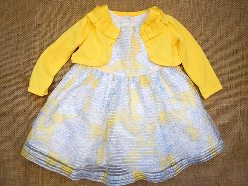 Janie & Jack Party Dress with Sweater - Yellow - 6-12 months