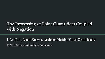 Cover - The Processing of Polar Quantifi