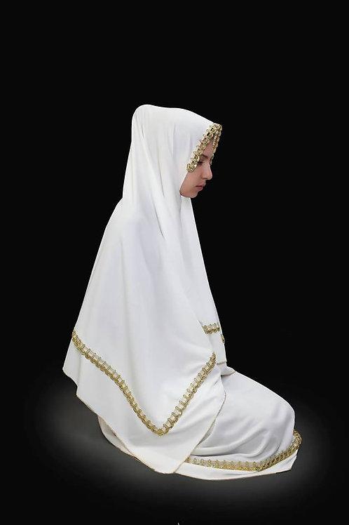 トルコ製女性用礼拝着 ホワイト