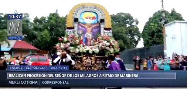 Realizan procesión del Señor de los Milagros pese a restricciones en Tarapoto