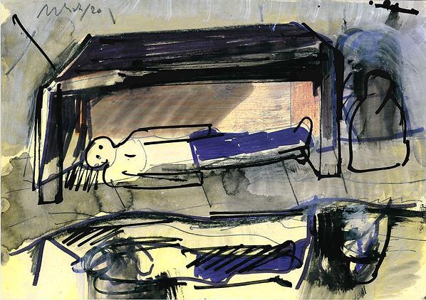 Christian Ulrich, Zeichnung, Am Fluss