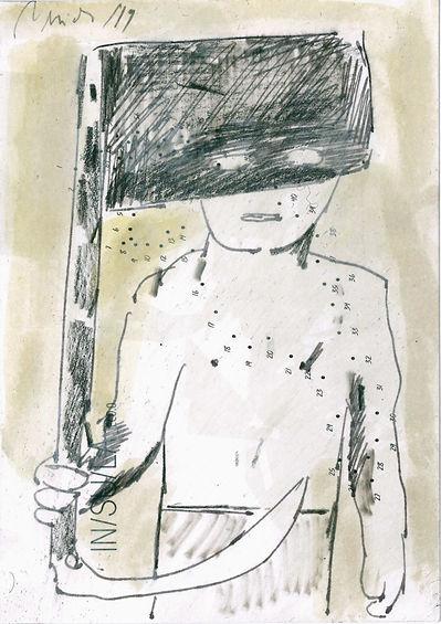 Christian Ulrich, Zeichnung, Fahne, Sense I