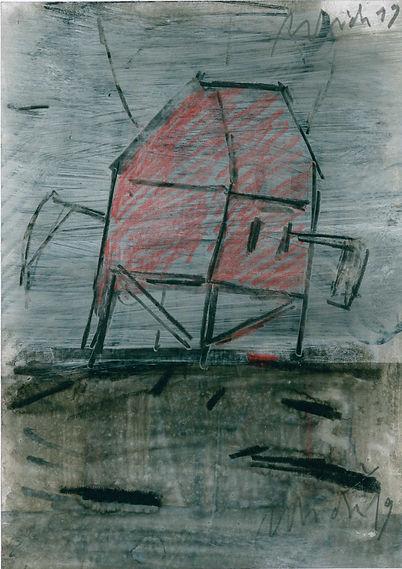 Christian Ulrich, Zeichnung, Fahne, Sense
