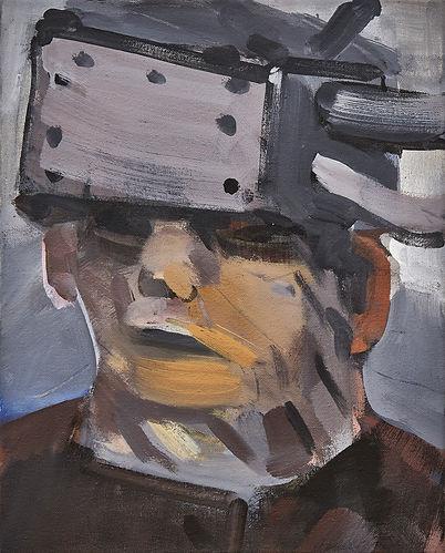 Christian Ulrich, Acryl auf Leinwand, Mütze aus Blech III