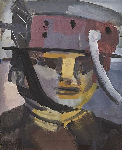 Christian Ulrich, Acryl auf Leinwand,Mütze aus Blech I