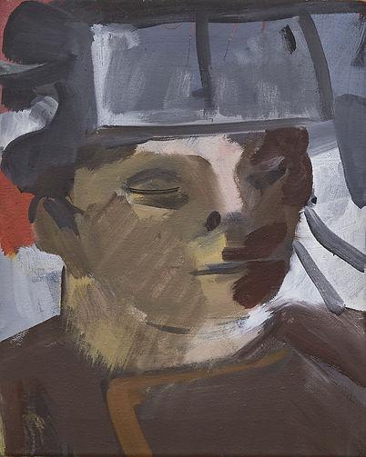 Christian Ulrich, Acryl auf Leinwand, Mütze aus Blech II