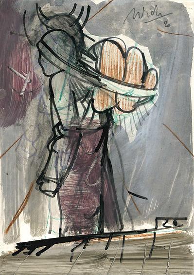 Christian Ulrich, Zeichnung, Tragen