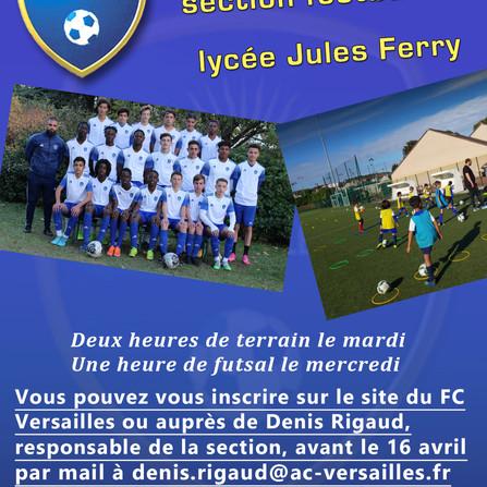 Inscription pour la section sportive du lycée Jules Ferry