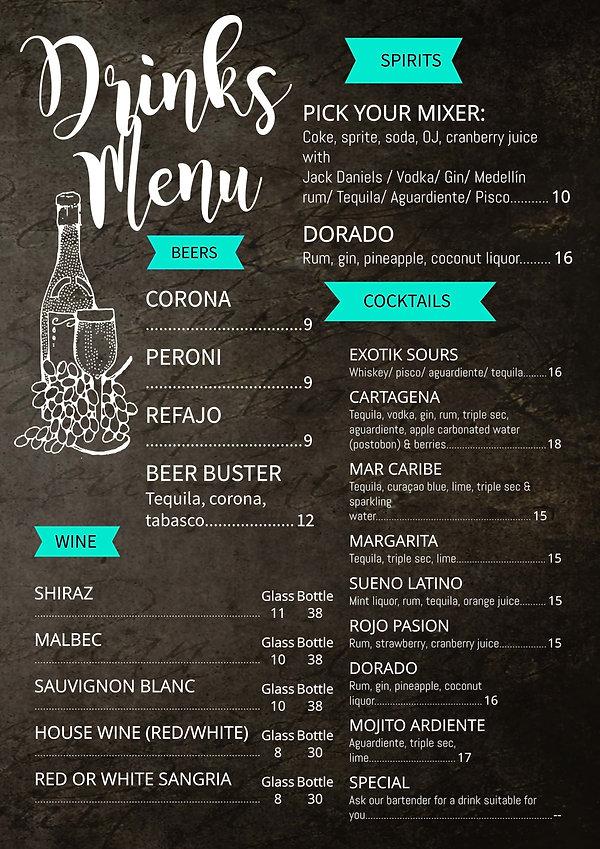 Exoti drink menu