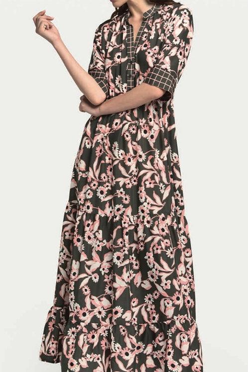 OTTOD'AME kleed FLOWERS kakhi/roze
