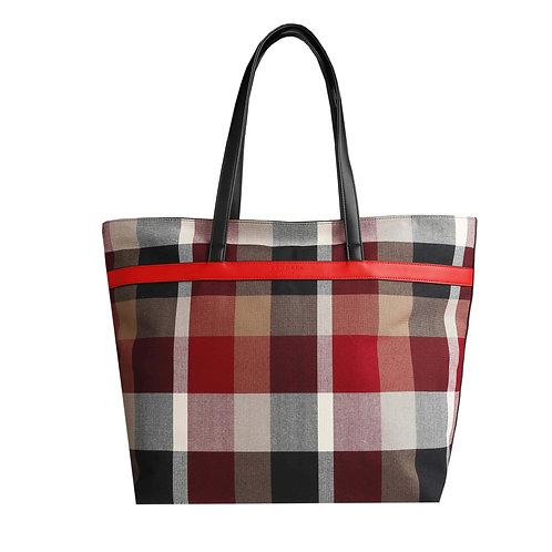 Xandres Shopper tas met ruiten in rood, bruin en zwart