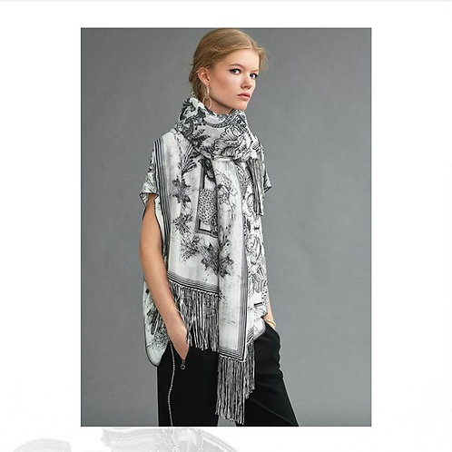 RIANI sjaal SCARF zwart/wit