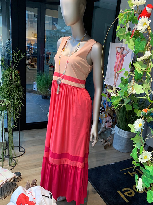 MY TWIN kleed MAXI color block roze