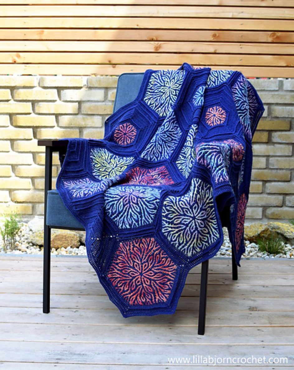 Hexagonal motif blanket using Brioche crochet.