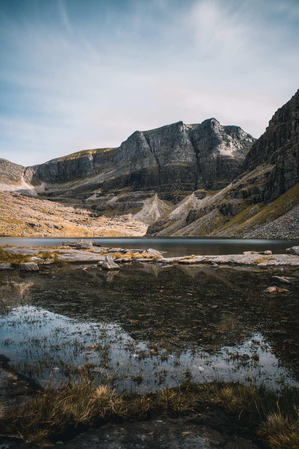 Loch Coire Mhic Fhearchair, Torridon. Photgraphic view of Triple Buttress by Jenny Rose Anderson