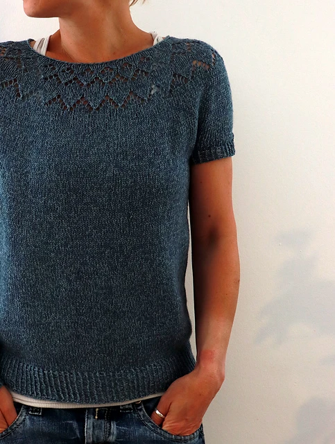 Photo credit @Isabell Kraemer. Top Down lace yoked sweater with short or long sleeve options.