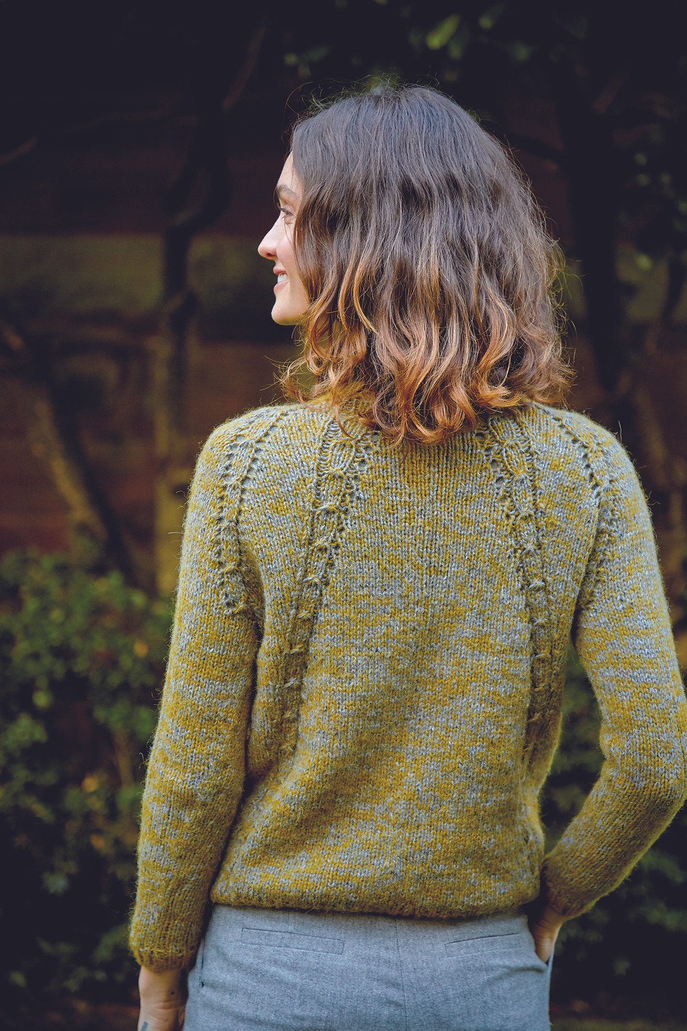 Hamilton is a seamless sweater using Alpaca Classic & Felted Tweed yarns held together.