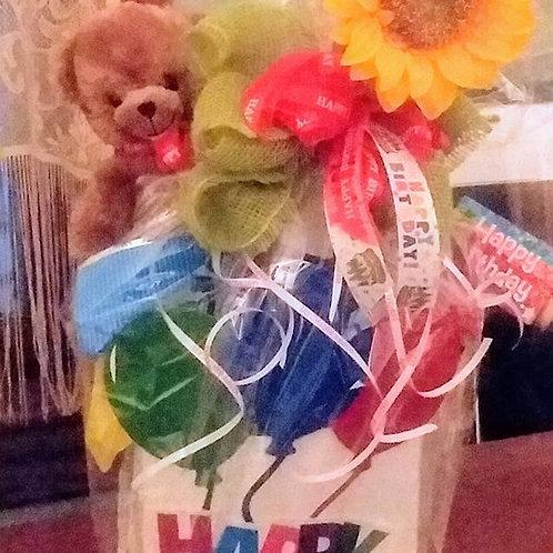 Happy Birthday Gift Basket with Bear