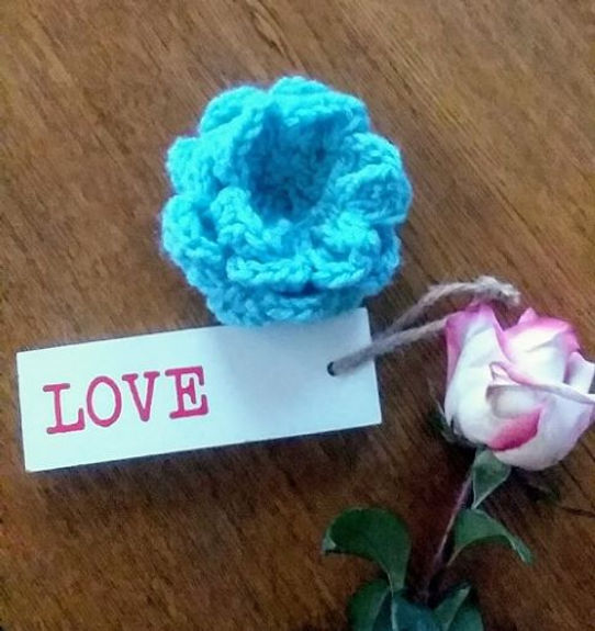LOVE message w crocheted rose & fresh ro