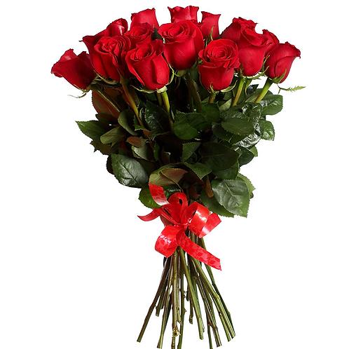 Роза - 15 шт. крас/бел/роз