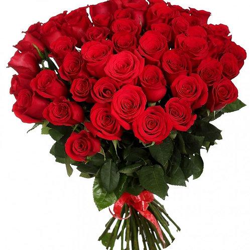 Роза - 41 шт. крас/бел/роз