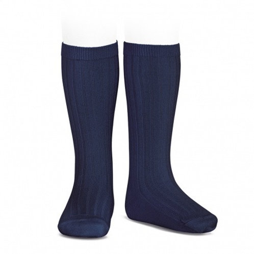 HIGH RIBBED SOCKS -BLUE MARINO