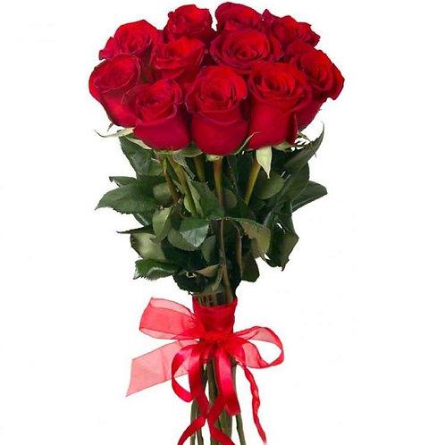 Роза - 11 шт. крас/бел/роз