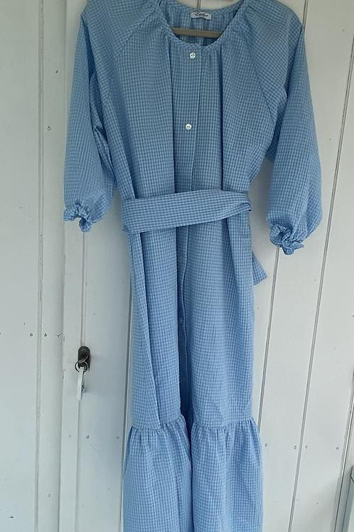 ESTELLE WOMAN DRESS -Seersucker light blue