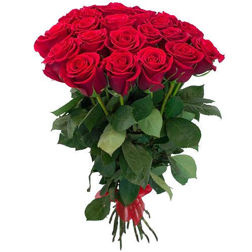 Роза - 21 шт. крас/бел/роз