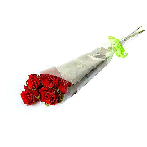 Роза - 5 шт. крас/бел/роз