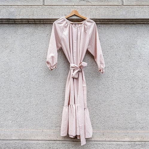 ESTELLE WOMAN DRESS -Seersucker pink