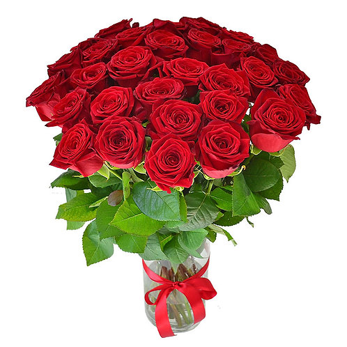 Роза - 31 шт. крас/бел/роз
