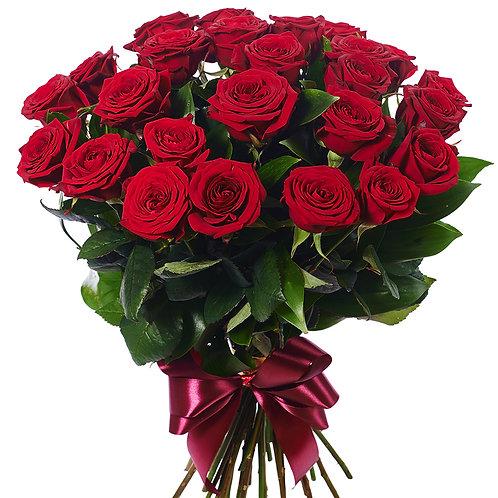 Роза - 25 шт. крас/бел/роз
