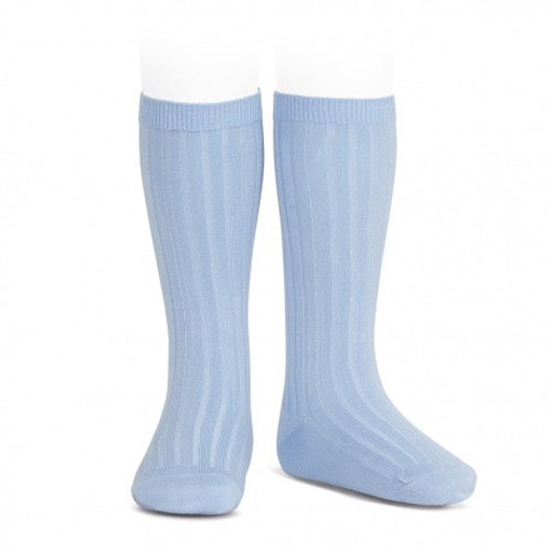 HIGH RIBBED SOCKS -LIGHT BLUE