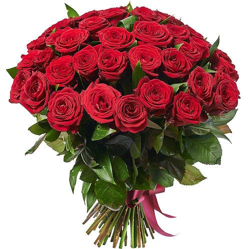 Роза - 51 шт. крас/бел/роз