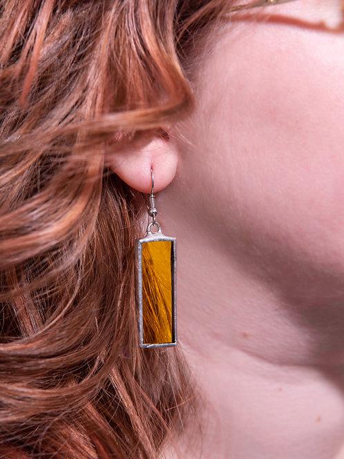 Yellow Glass Triangle Earrings