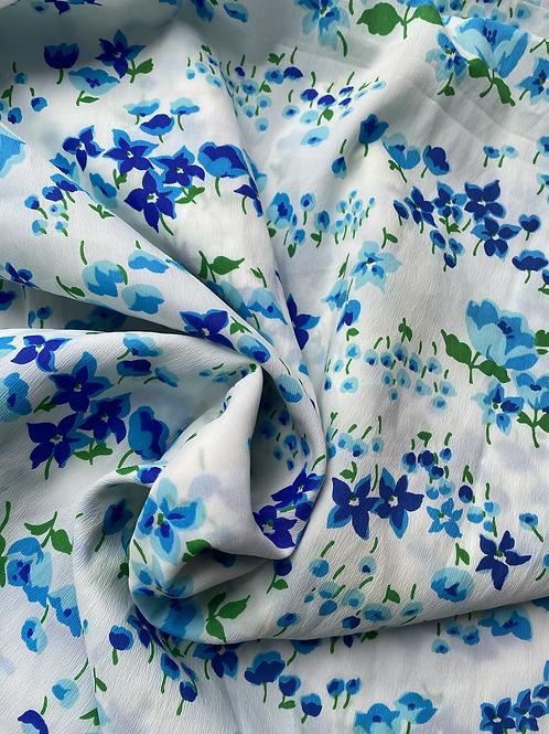 50's Blue Floral Custom Crystal Duster
