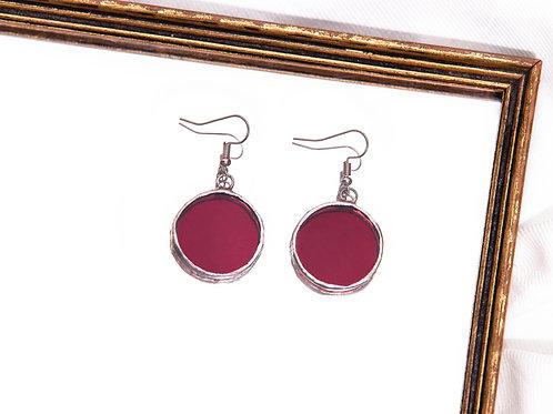 Purple Glass Circular Earrings