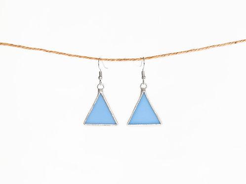 Blue Glass Triangle Earring