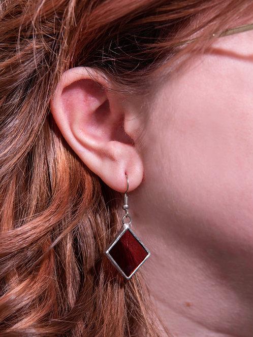 Plum Glass Diamond Earrings
