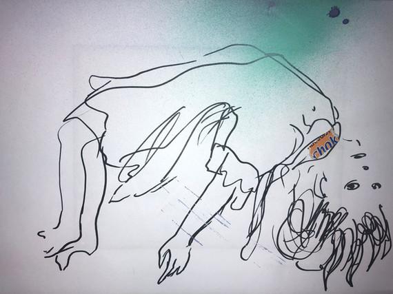 C H O K E • 30/40 cm, drawing, collage on paper, print on aluminium, 2020
