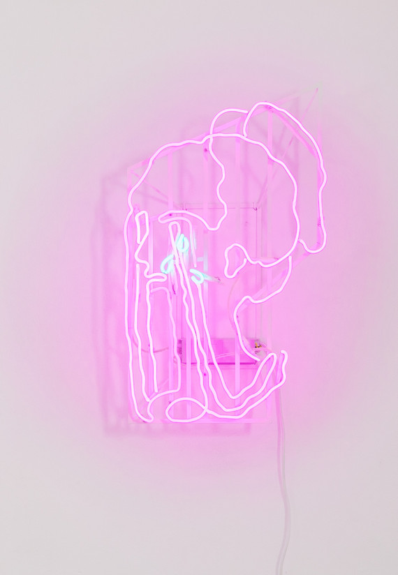 CRY BABE // 70x50x25 cm // turquoise, margenta neon tubes // 2020