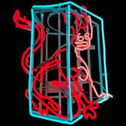 SUPERNATURAL FEMME FATALE, 50x40x25 cm, neon tubes on aluminum frame, 2021