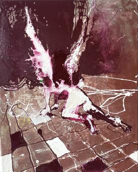 f a l l e n 🪶 40/50 cm, oil, lacquer, glass on canvas, 2021