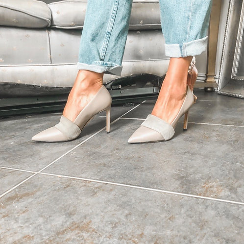 Vince Grey Leather Point Toe Pumps