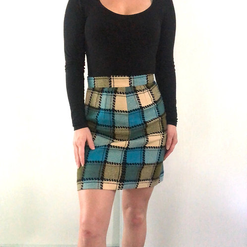 Knit Blue Green Geo Print Mini Skirt